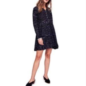 Free People Rib Knit Black Ruffle Button Dress M